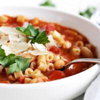 pasta e fabioli soup in white bowl
