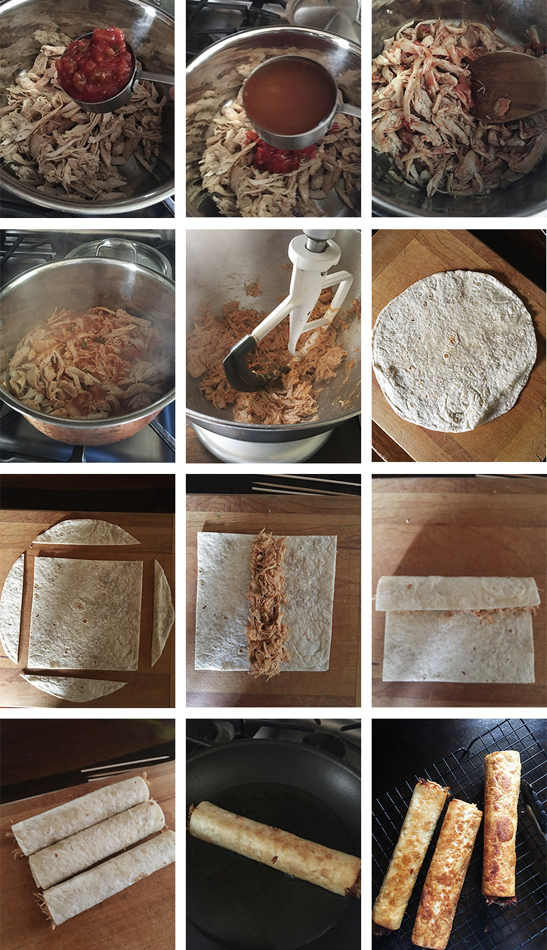 collage of step by step photos for making chicken flautas