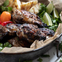 Jamaican jerk chicken on platter
