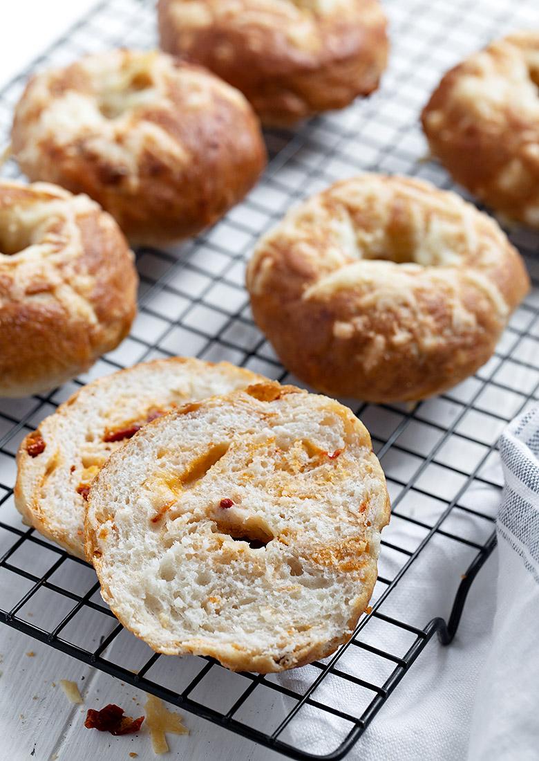 sun-dried tomato asiago bagels cut open