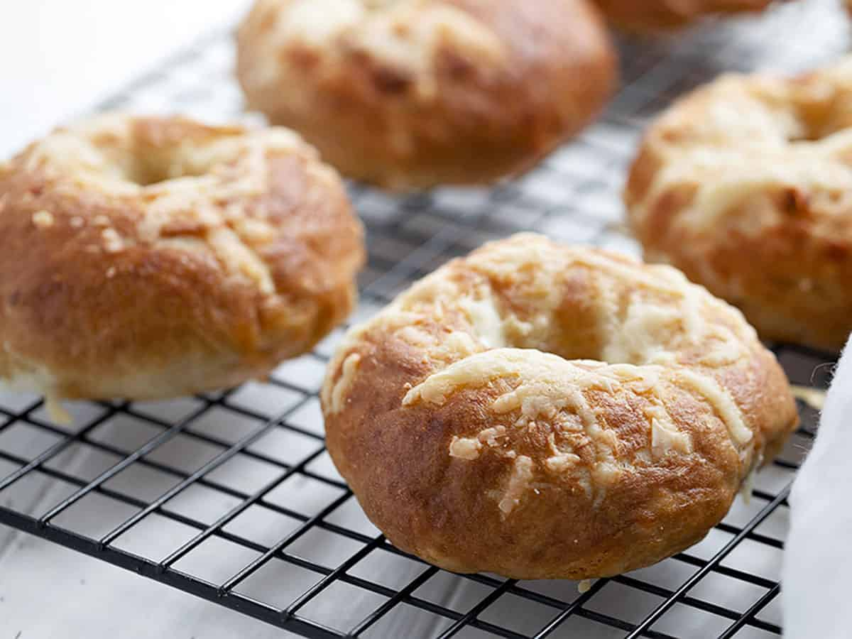 asiago sun dried tomato bagels on cooling rack