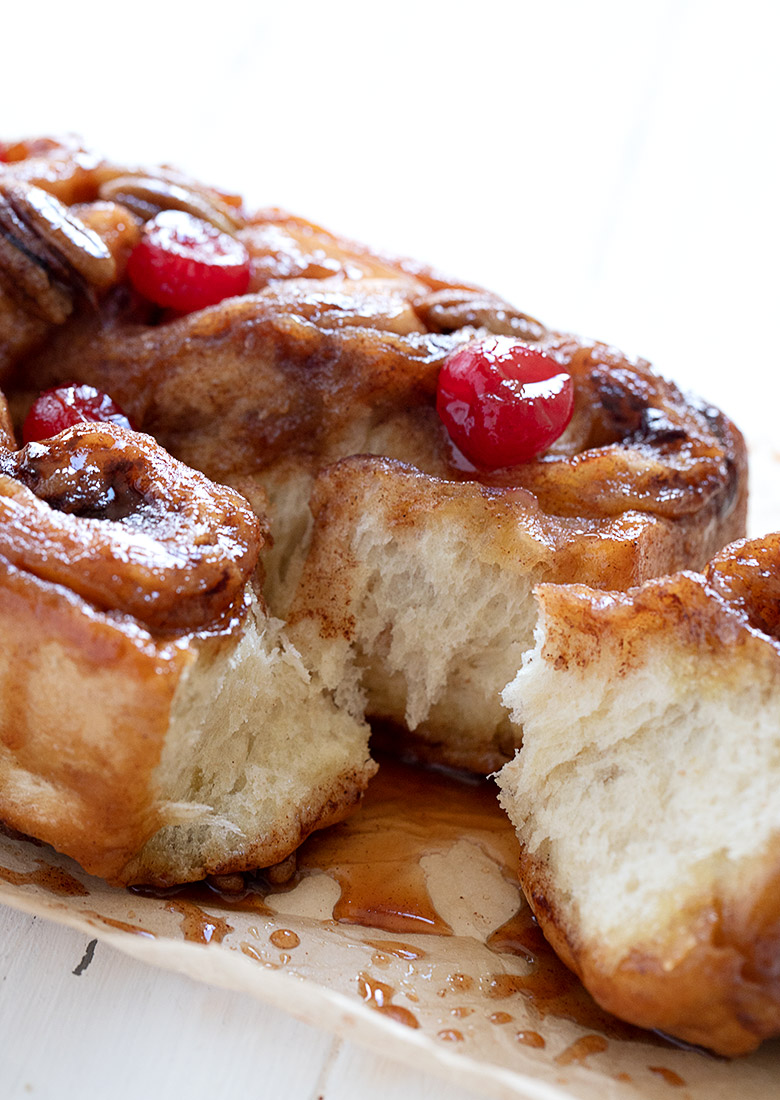 chelsea buns pulled apart on parchment