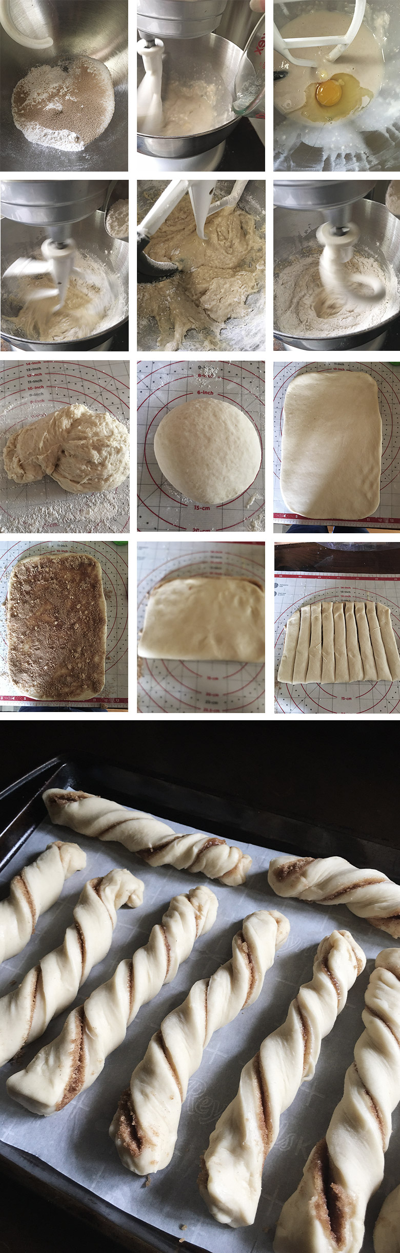 step by step photo collage of making cinnamon twists