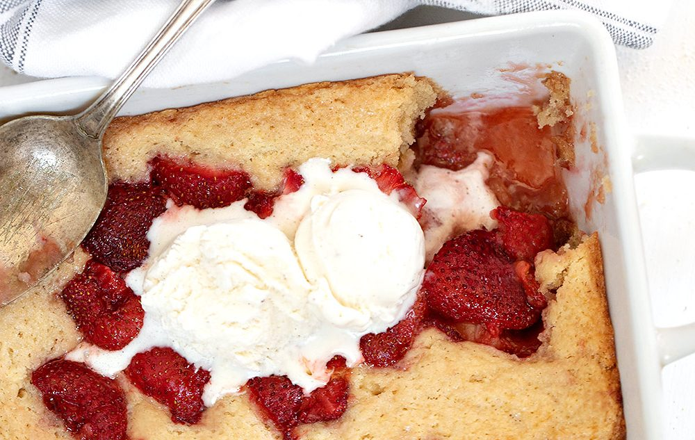 strawberry spoon cake with ice cream and spoon