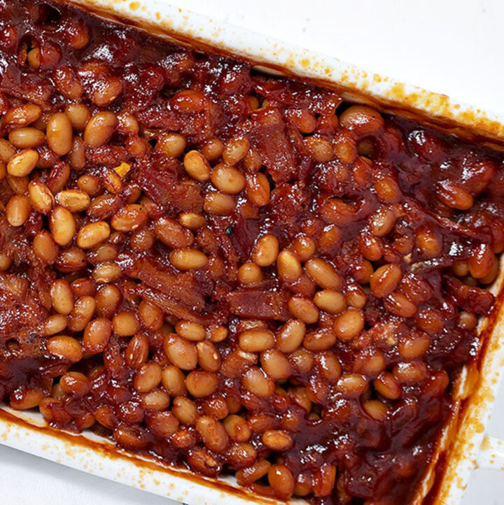 bbq baked beans with bacon in casserole dish