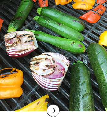 vegetables on the grill after turning