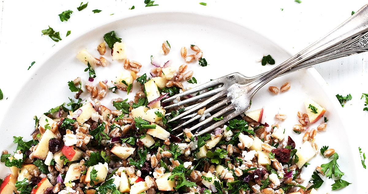 fall tabbouleh on white plate with forks
