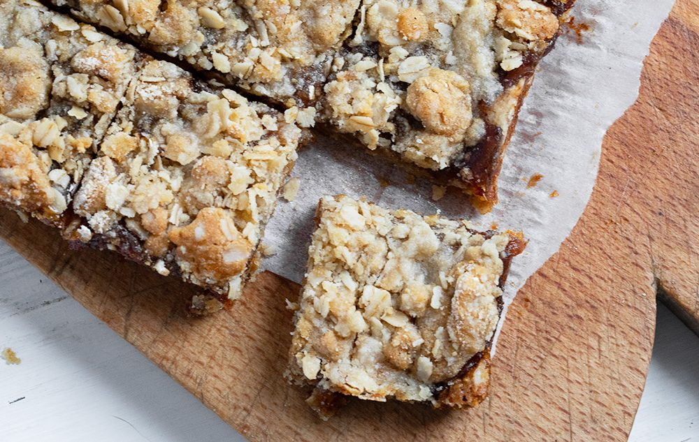 date squares on cutting board