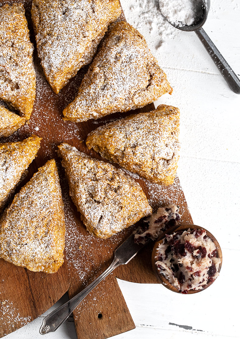 pumpkin scones with cranberry butter from above