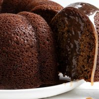 sticky toffee bundt sliced with toffee sauce