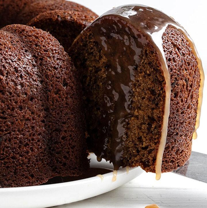 sticky toffee bundt cake sliced o plate