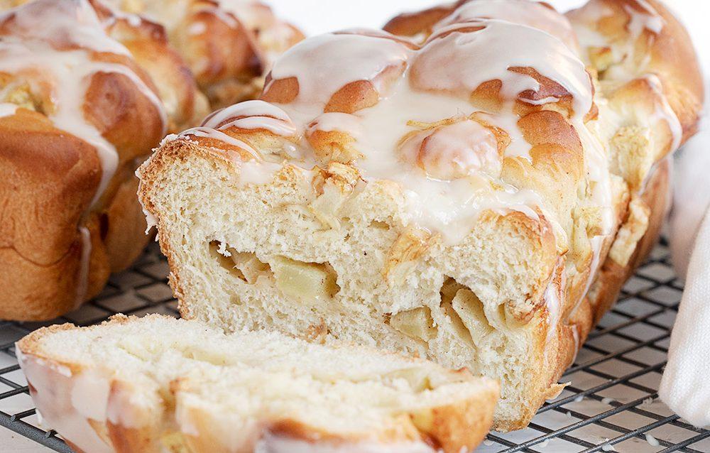 chunky apple yeast bread sliced