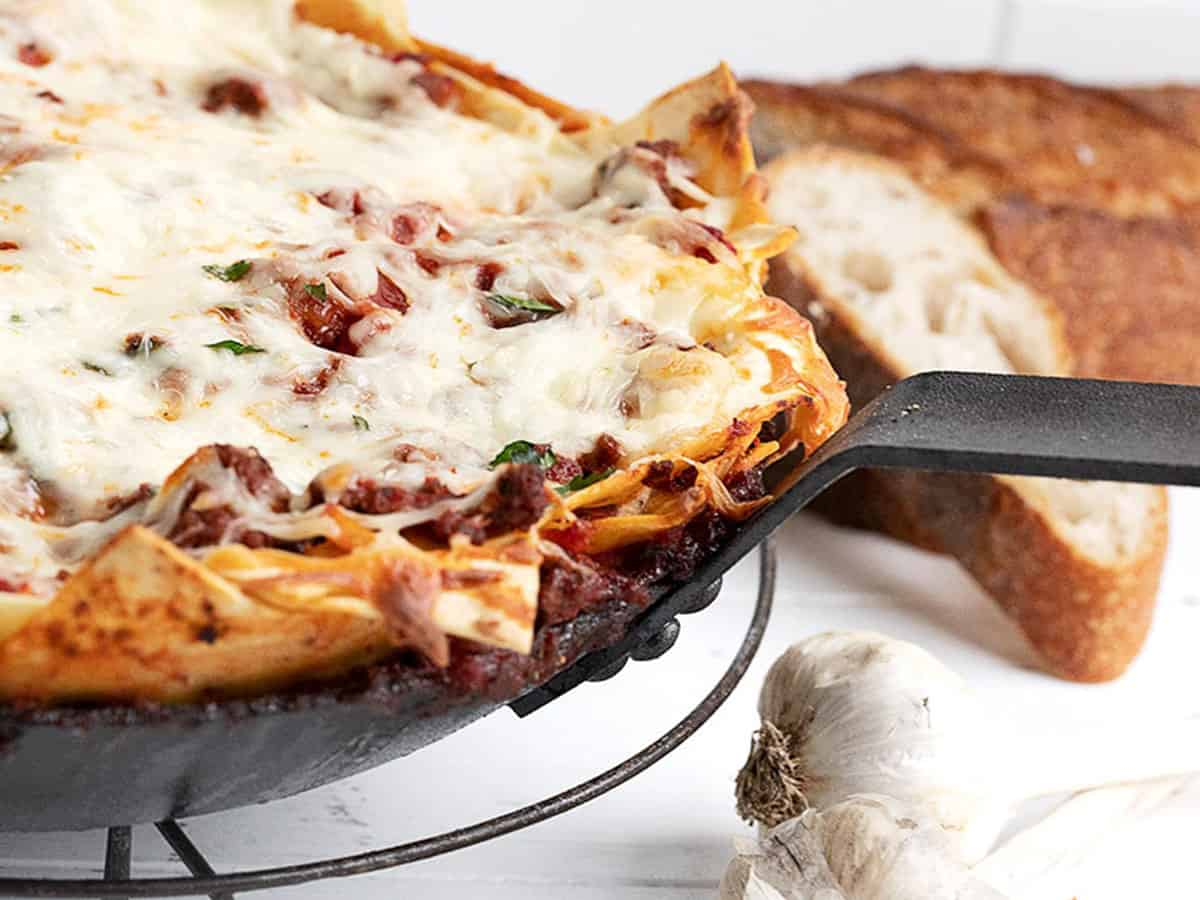 easy skillet lasagna in skillet