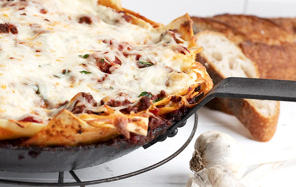 skillet lasagna in pan
