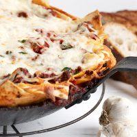 skillet lasagna in pan