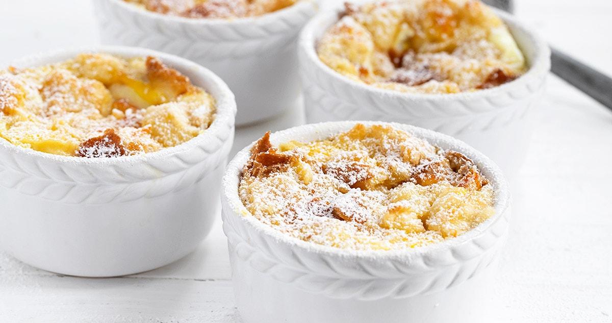 marmalade bread pudding in white ramekins