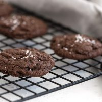 salted chocolate cookies on cooling rack