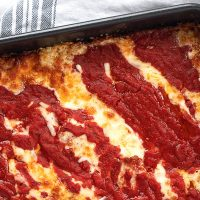 Detroit style pizza in pan