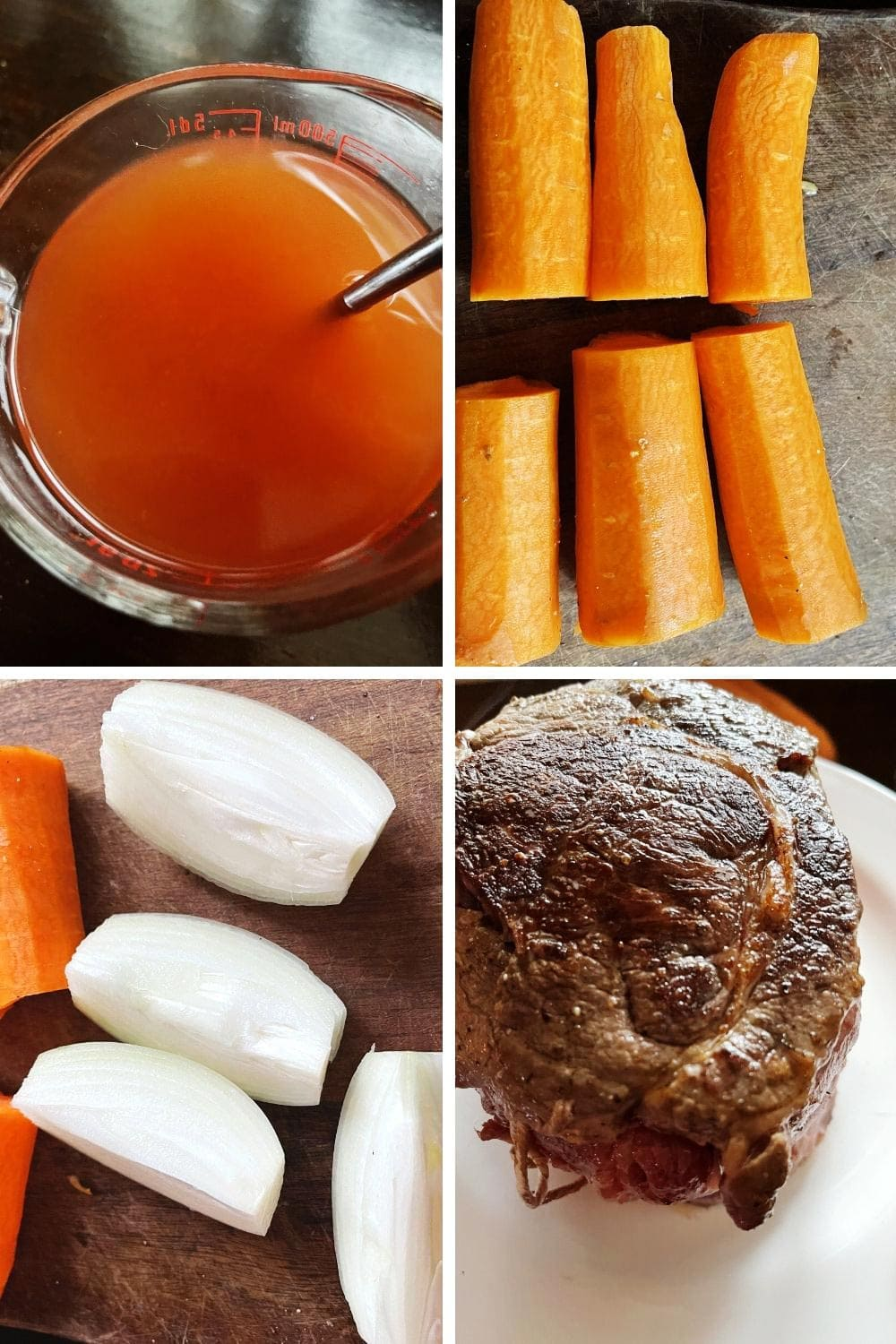 photo collage of steps to make pot roast