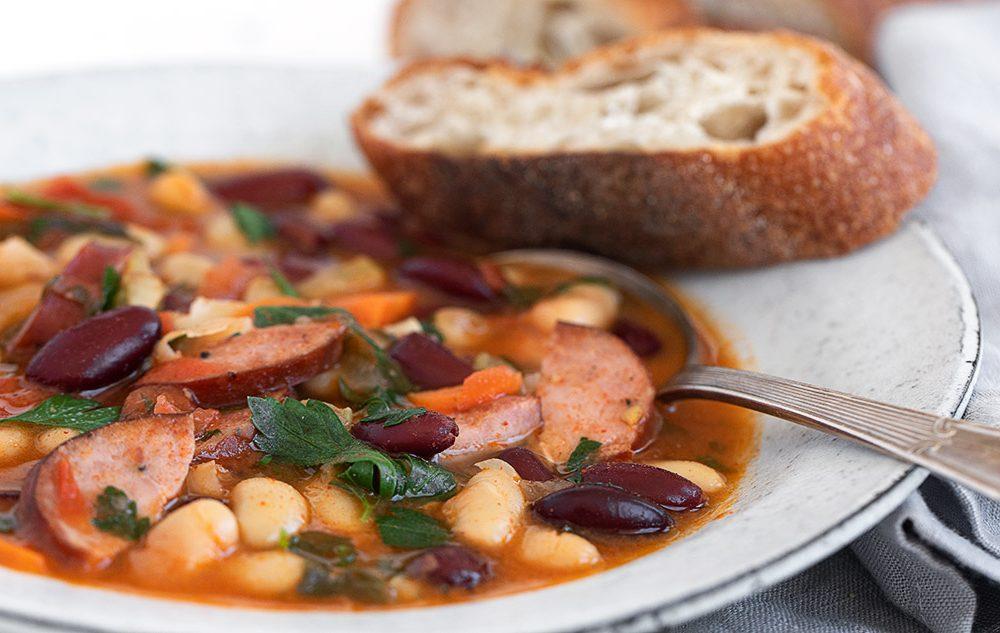 side view shot of Hungarian bean soup