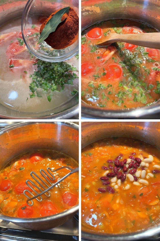 making Hungarian bean soup