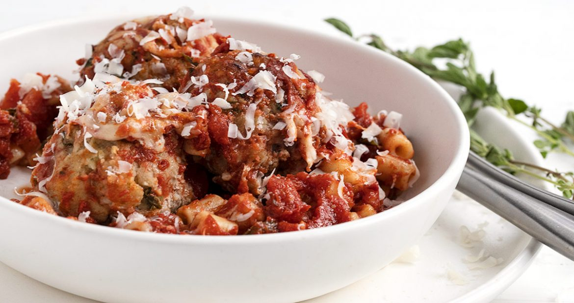 meatball and pasta bake in serving bowl