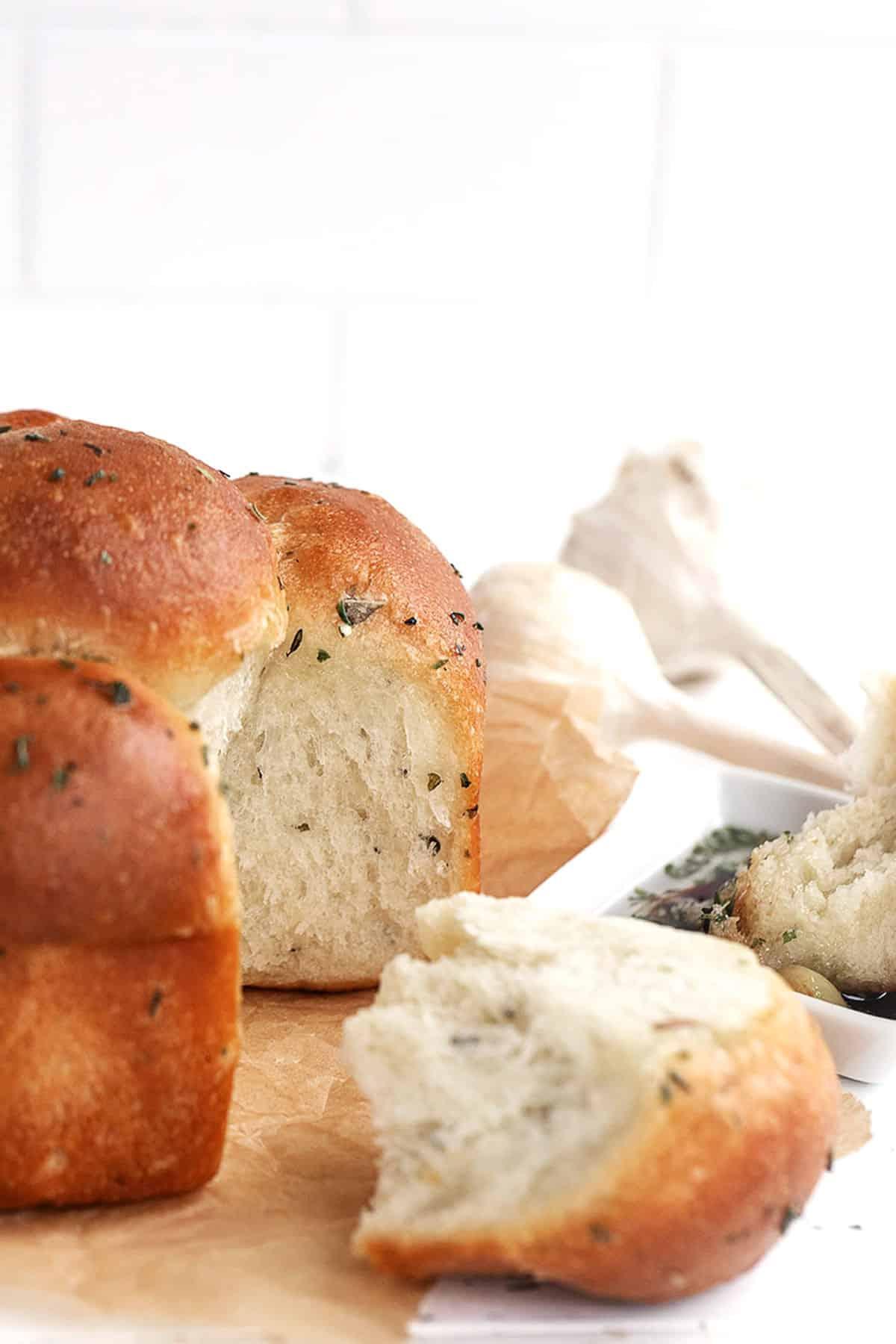 pull apart garlic and herb focaccia rolls