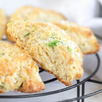 cornmeal cheddar biscuits on cooling rack