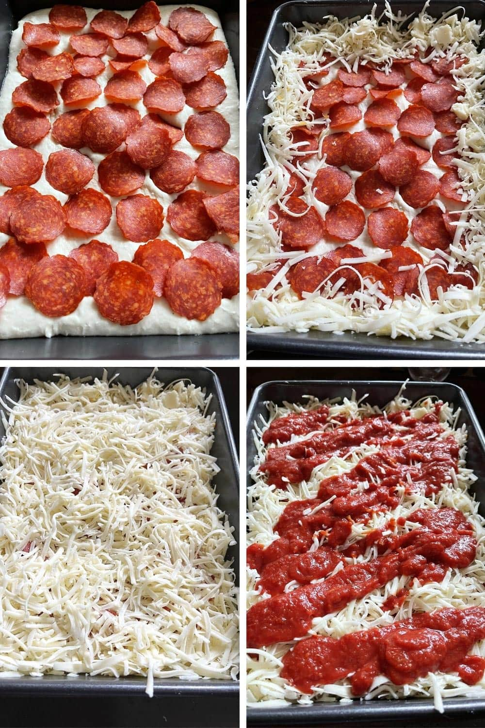 photo collage of topping Detroit style pizza
