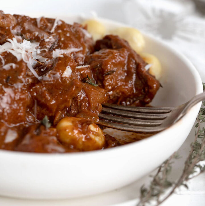 Italian Style Beef Goulash in bowl with gnocchi
