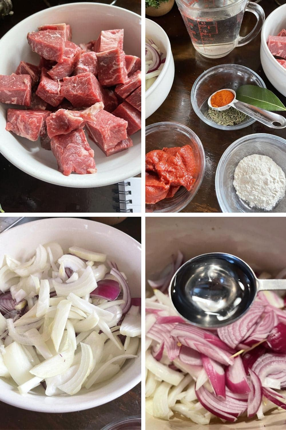 photo collage of steps 1 to make Italian Goulash