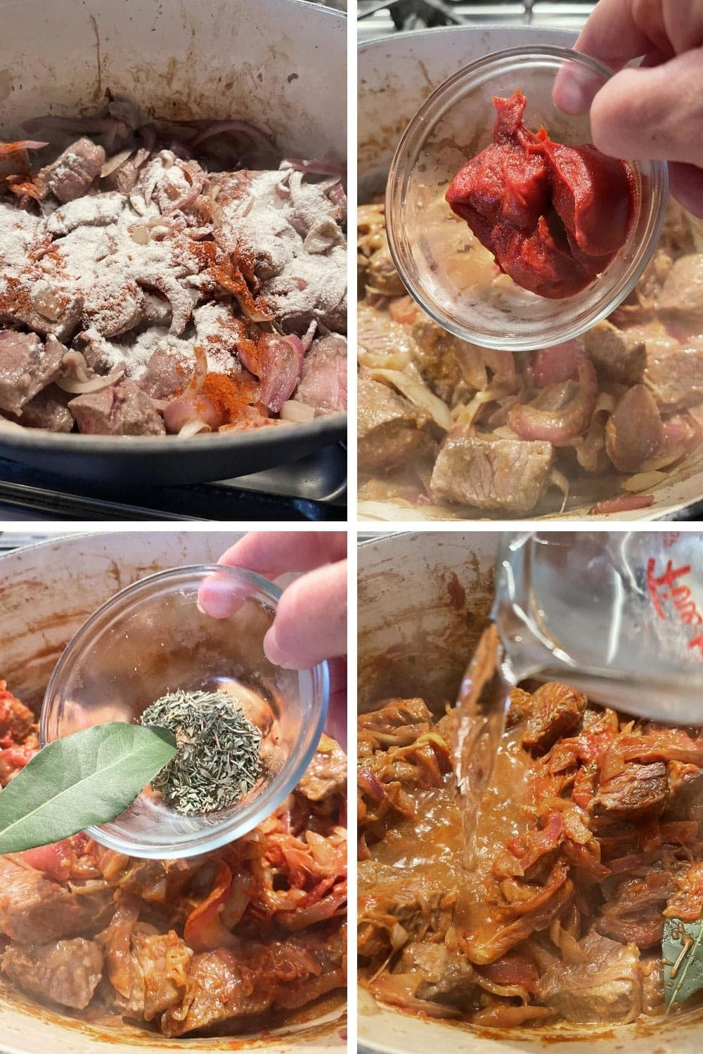 photo collage of steps 3 to make Italian Goulash