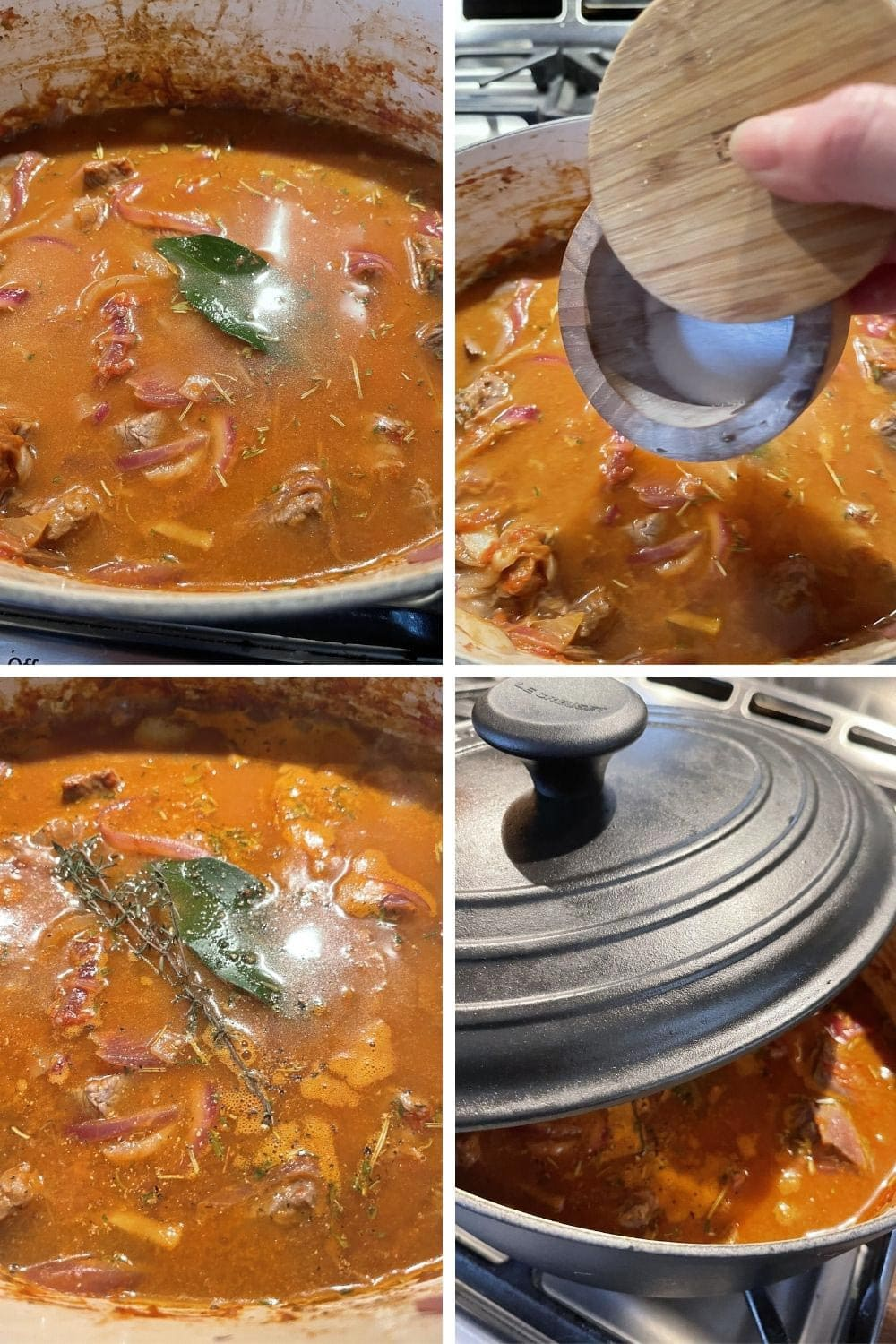 photo collage of steps 4 to make Italian Goulash