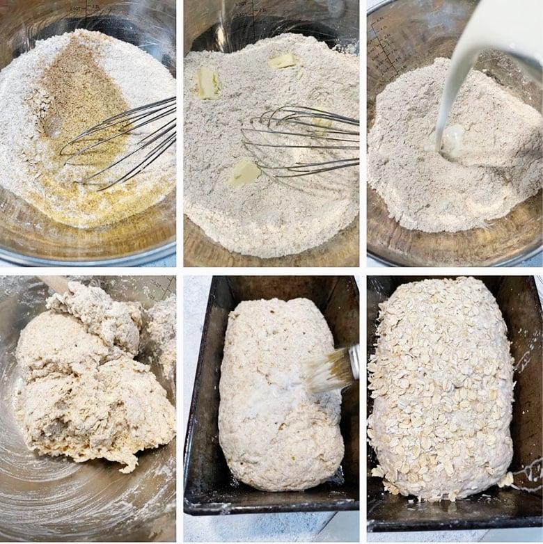 photo collage of making brown Irish soda bread