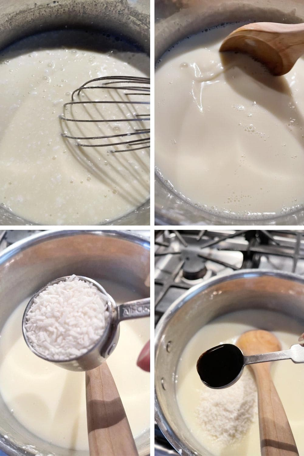 photo collage of making coconut pudding 1