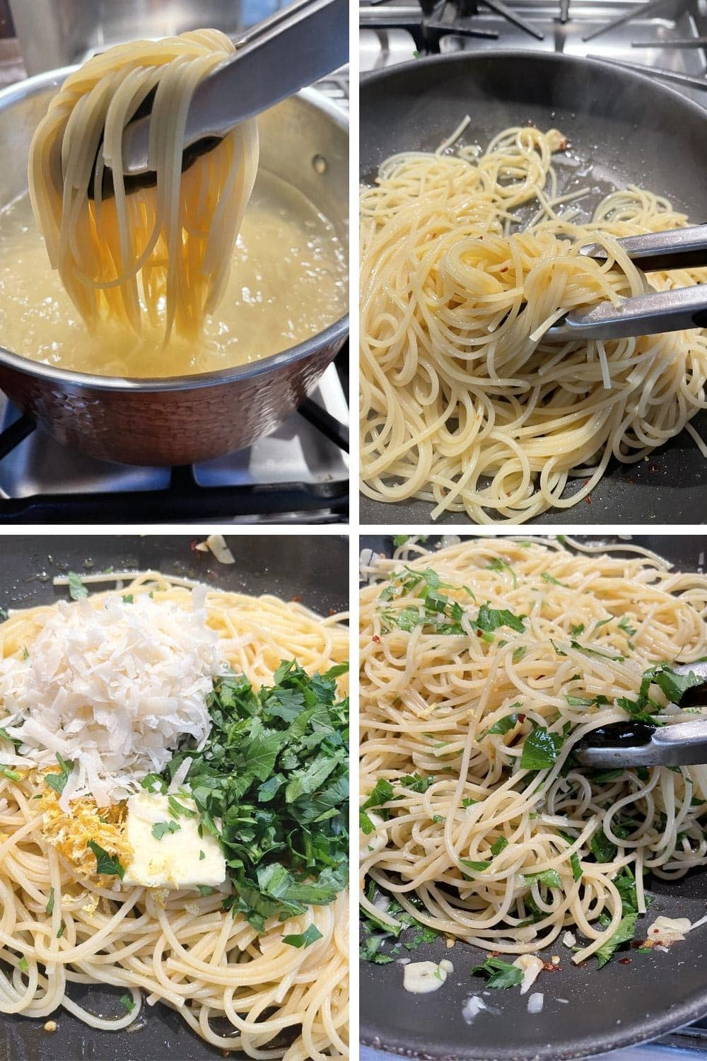 photo collage of steps to make olive oil spaghetti 2