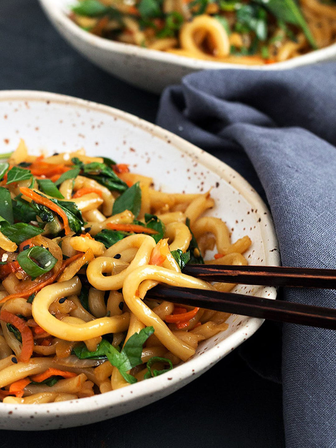 spicy udon noodles in bowl