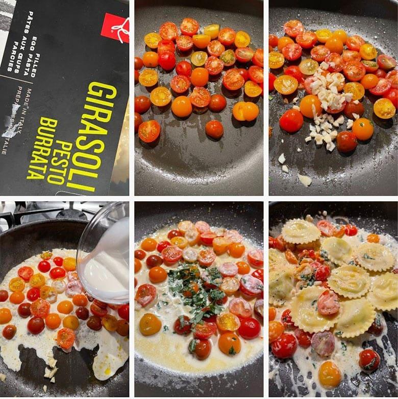 photo collage of steps to make tomato garlic ravioli
