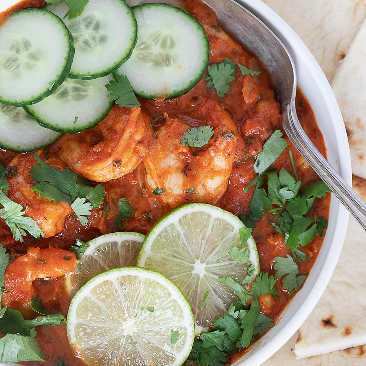 Indian Butter Shrimp in white bowl