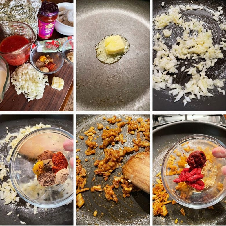 photo collage of steps to make Indian Butter Shrimp 1
