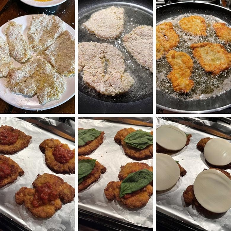 photo collage of steps to make chicken parm 2