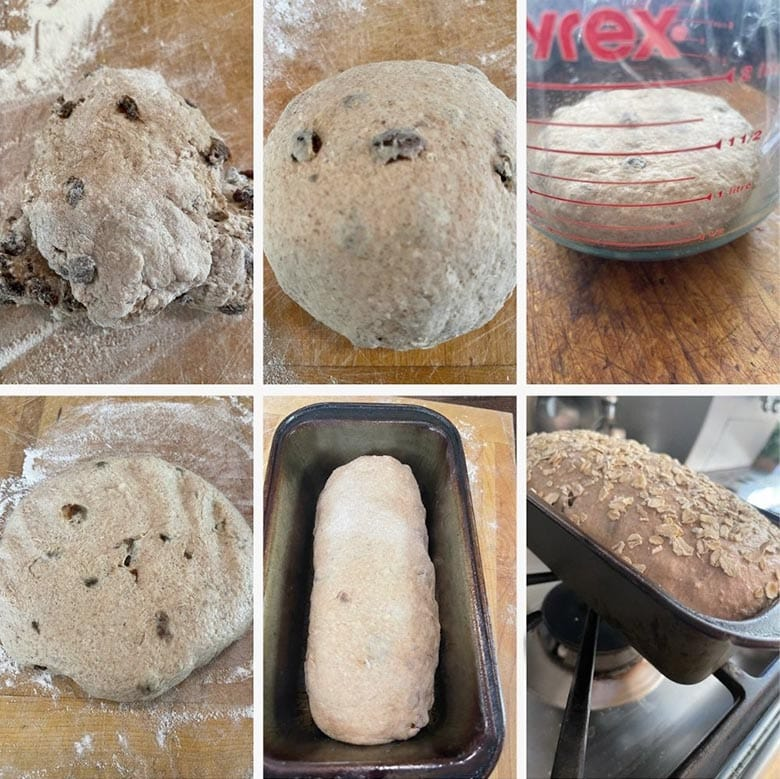 photo collage of steps to make cinnamon raisin oatmeal bread 1