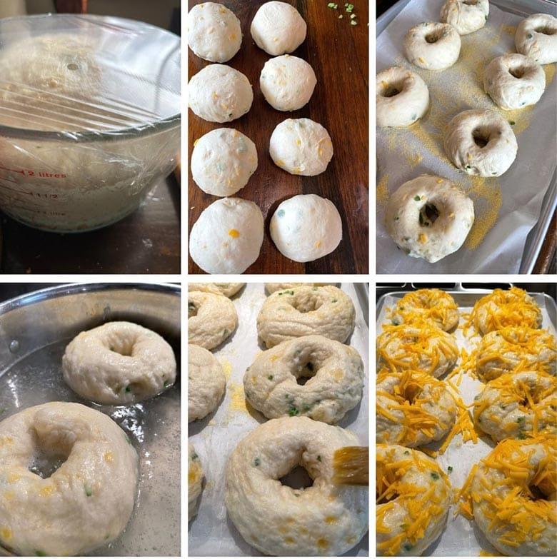 photo collage of steps to make cheddar jalapeno bagels 2