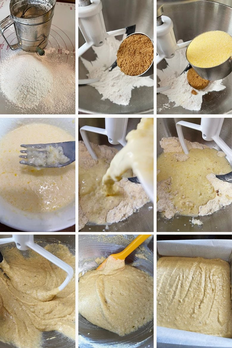 photo collage of steps to make Johnny Cake