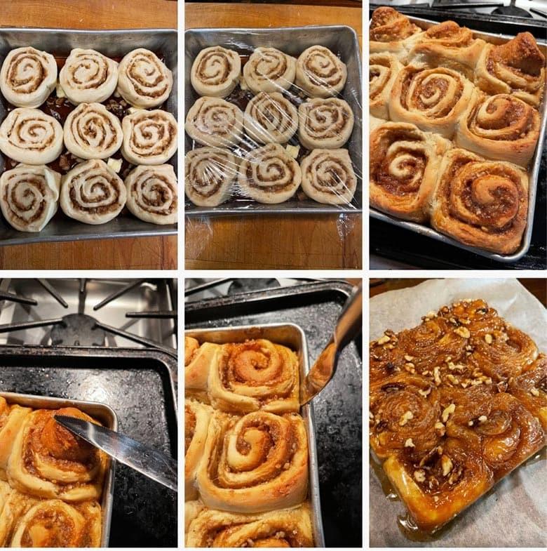 photo collage of steps to make Maple Walnut Sticky Buns 2