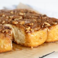 maple walnut sticky buns on cooling rack