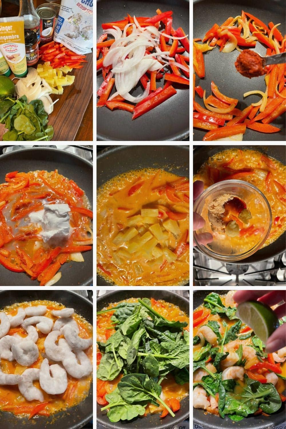 photo collage of steps to make Thai red curry shrimp