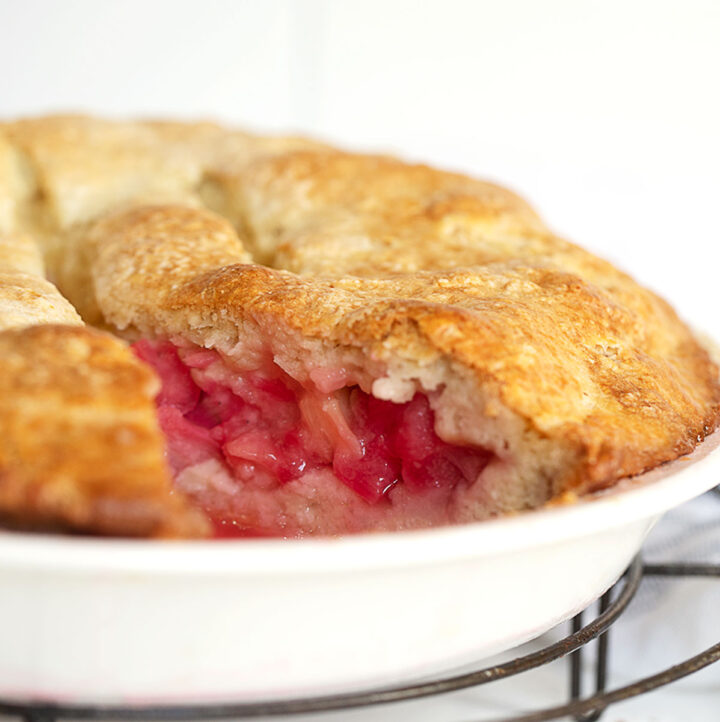 rustic rhubarb cake in pan with slice out