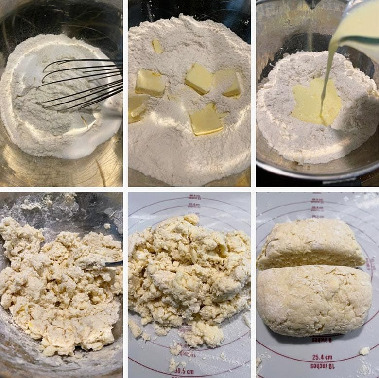 photo collage of steps to make rustic rhubarb cake 1
