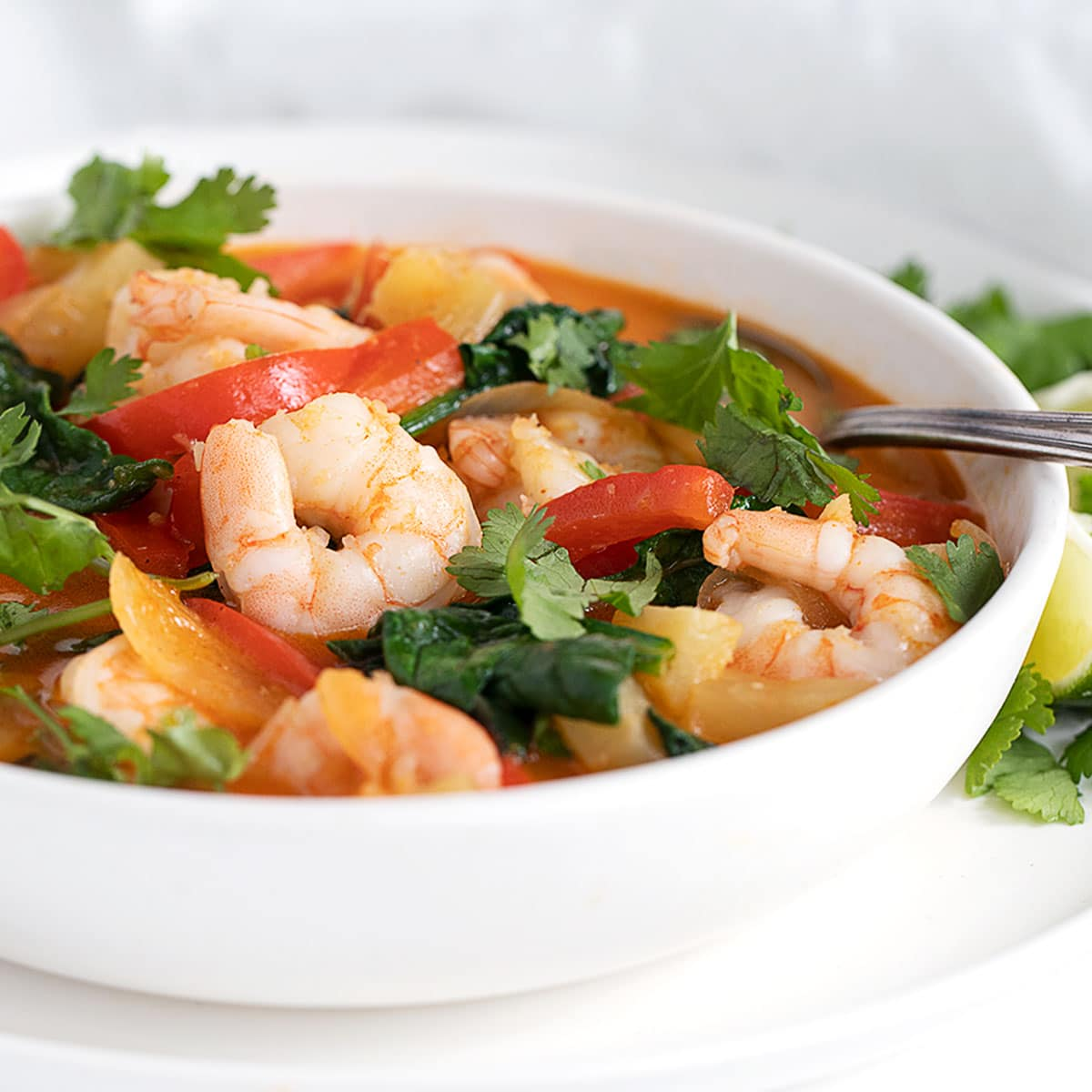 Thai red curry shrimp in white bowl